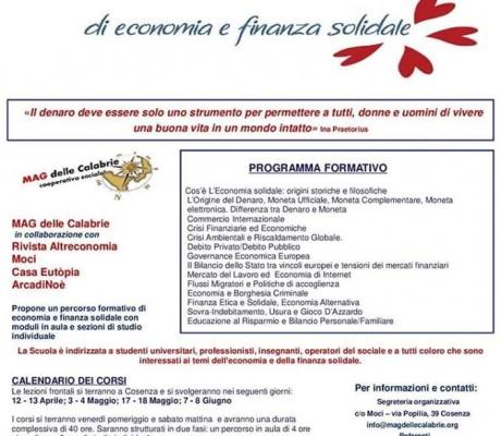 SCUOLA MAG.ICA - DI ECONOMIA E FINANZA SOLIDALE